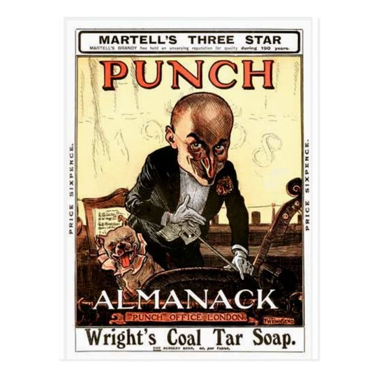 MR PUNCH VINTAGE ALMANACK 1908 PRINT DESIGN POSTCARD