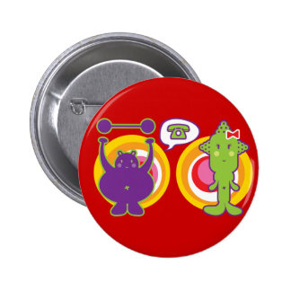 Mr. Purple & Miss Green Cute Cartoon Character 6 Cm Round Badge