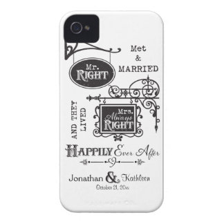 Mr. Right and Mrs. Always Right Wedding Marriage iPhone 4 Case