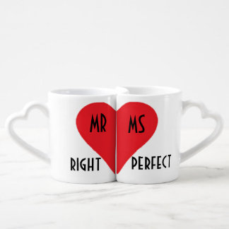 Mr Right His & Her Heart Mugs