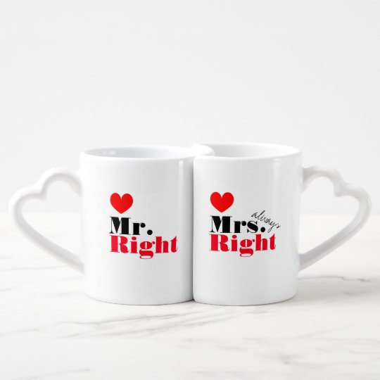 Mr Right Mrs Always Right mug set for couples