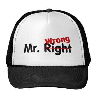 Mr Right Wrong Trucker Hats