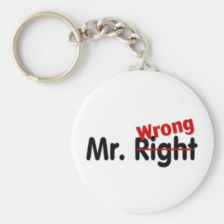 Mr Right Wrong Basic Round Button Key Ring