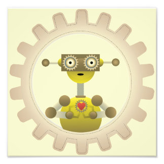 Mr. Robot with Steampunk Gear Heart Photo Print