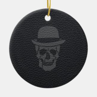 Mr. Skull on black leather Christmas Ornament