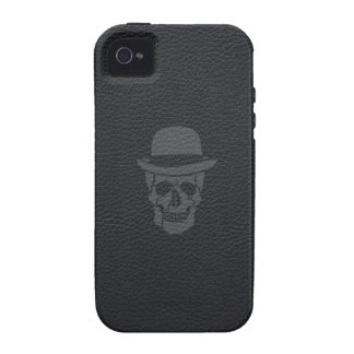 Mr. Skull on black leather iPhone 4/4S Covers
