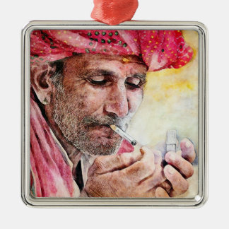 Mr. Smoker cool watercolor portrait painting Silver-Colored Square Decoration
