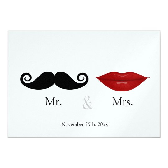 Mr. & the Mrs (Lips and the Stache) Wedding RSVP Card