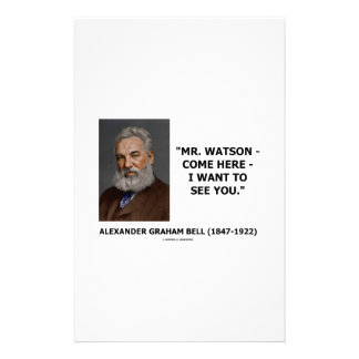 Mr. Watson - Come Here - I Want To See You Stationery Paper