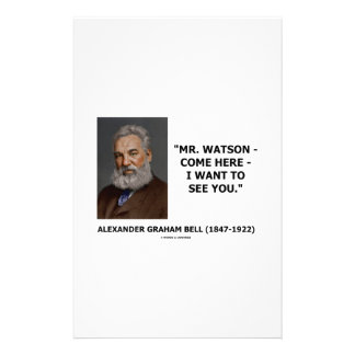 Mr. Watson - Come Here - I Want To See You Personalized Stationery