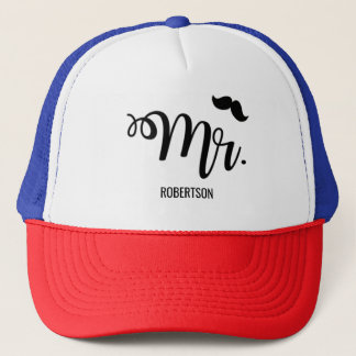 Mr. with a mustache trucker hat