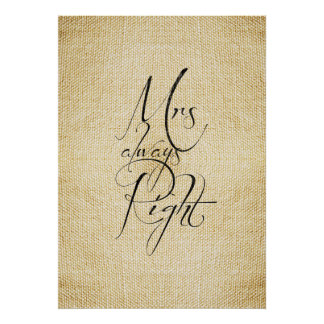 Mrs Always Right linen pattern Print