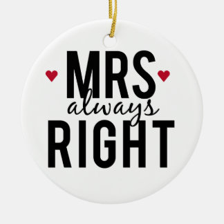 Mrs. always right text design with red hearts christmas ornament
