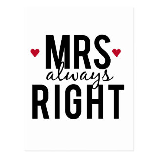 Mrs. always right text design with red hearts postcard