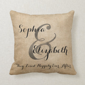 Mrs and Mrs Burlap lesbian Wedding Personalized Throw Pillow