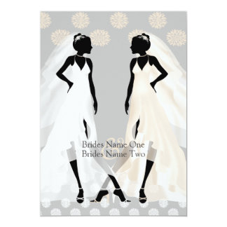 "Mrs and Mrs Elegant Wedding Dress And Flower 5"" X 7"" Invitation Card"