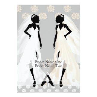 Mrs and Mrs Elegant Wedding Dress And Flower 5x7 Paper Invitation Card