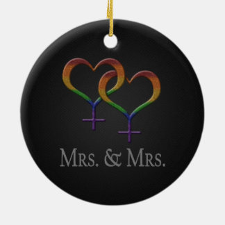 Mrs. and Mrs. Lesbian Pride Christmas Ornament