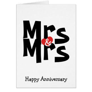 Mrs and Mrs Lesbian Wedding Bold Anniversary Greeting Card