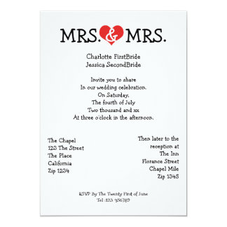 Mrs and Mrs Love Heart Lesbian Wedding Cards