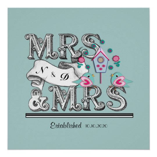 Mrs and Mrs Personalised Lesbian Wedding Gift Poster