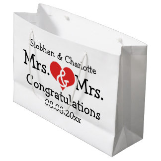 Mrs and Mrs Red Heart Wedding Personalized Large Gift Bag