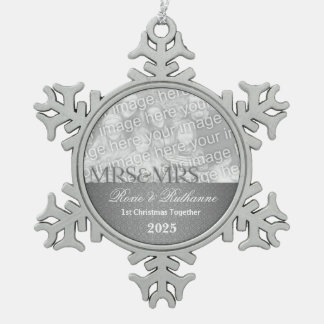 Mrs and Mrs Silver Damask 1st Christmas Snowflake Pewter Christmas Ornament