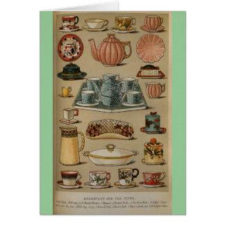 Mrs Beeton Breakfast Tea China Crockery Greeting Card