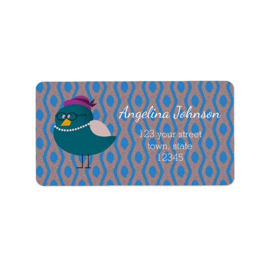 Mrs Bird Turquoise Return Address Label