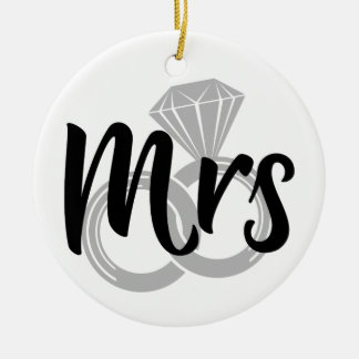 Mrs Bride Wedding Rings Round Ceramic Decoration