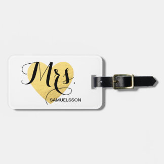 Mrs. chic travel Luggage Tag | gold heart