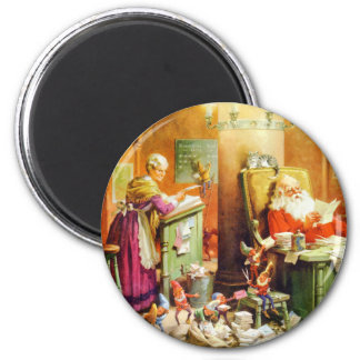 Mrs. Claus and Santa at the North Pole 6 Cm Round Magnet