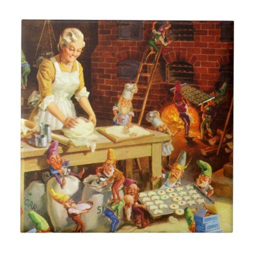 Mrs. Claus and Santas Elves Bake Christmas Cookies Tiles