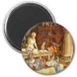 Mrs. Claus and the Elves Bake Christmas Cookies 6 Cm Round Magnet