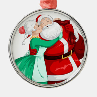 Mrs Claus Kisses Santa On Cheek And Hugs Christmas Ornament