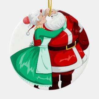 Mrs Claus Kisses Santa On Cheek And Hugs Christmas Ornament