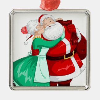 Mrs Claus Kisses Santa On Cheek And Hugs Silver-Colored Square Decoration