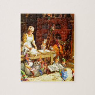 Mrs. Claus & Santa's Elves Bake Christmas Cookies Jigsaw Puzzle