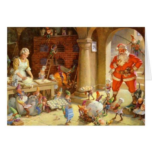 Mrs. Claus & Santas Elves baking Christmas Cookies Greeting Card
