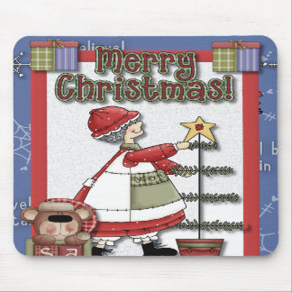 Mrs. Clause Tree Decorating Mouse Pads