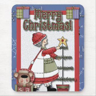 Mrs. Clause Tree Decorating Mouse Pad