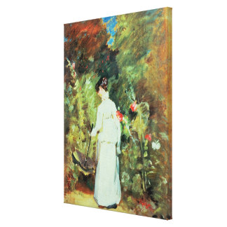 Mrs Constable in her Garden Stretched Canvas Print