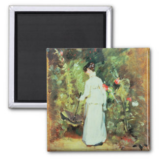 Mrs Constable in her Garden Square Magnet