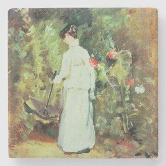 Mrs Constable in her Garden Stone Beverage Coaster