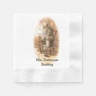 Mrs. Dormouse Knitting Personalized Offset Paper Napkins