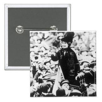 Mrs Emmeline Pankhurst  Addressing a Crowd 15 Cm Square Badge