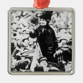 Mrs Emmeline Pankhurst  Addressing a Crowd Silver-Colored Square Decoration