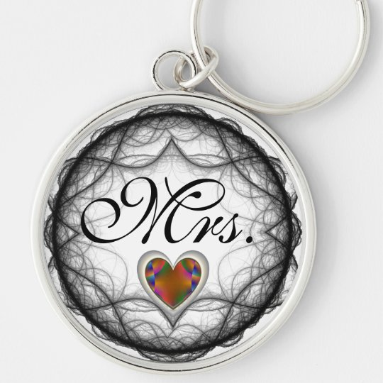 Mrs. Faceted Golden Heart Key Chain