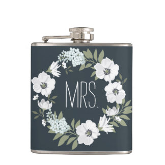Mrs. Floral Wedding Gifts Personalized Flasks