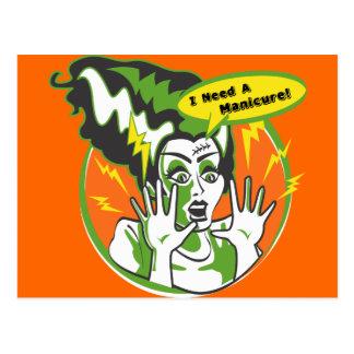 Mrs Frankenstein Needs a Manicure Postcard